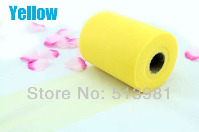 """Free shipping Yellow TULLE Roll Spool 6""""x100yd Tutu Wedding Gift Craft Party Bow(China (Mainland))"""