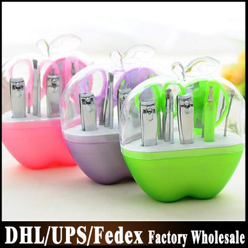 Fashionable Style Green Apple Design Manicure Set Apple Manicure Kits Bridal Shower Favors+FREE SHIPPING+100sets/lot(China (Mainland))