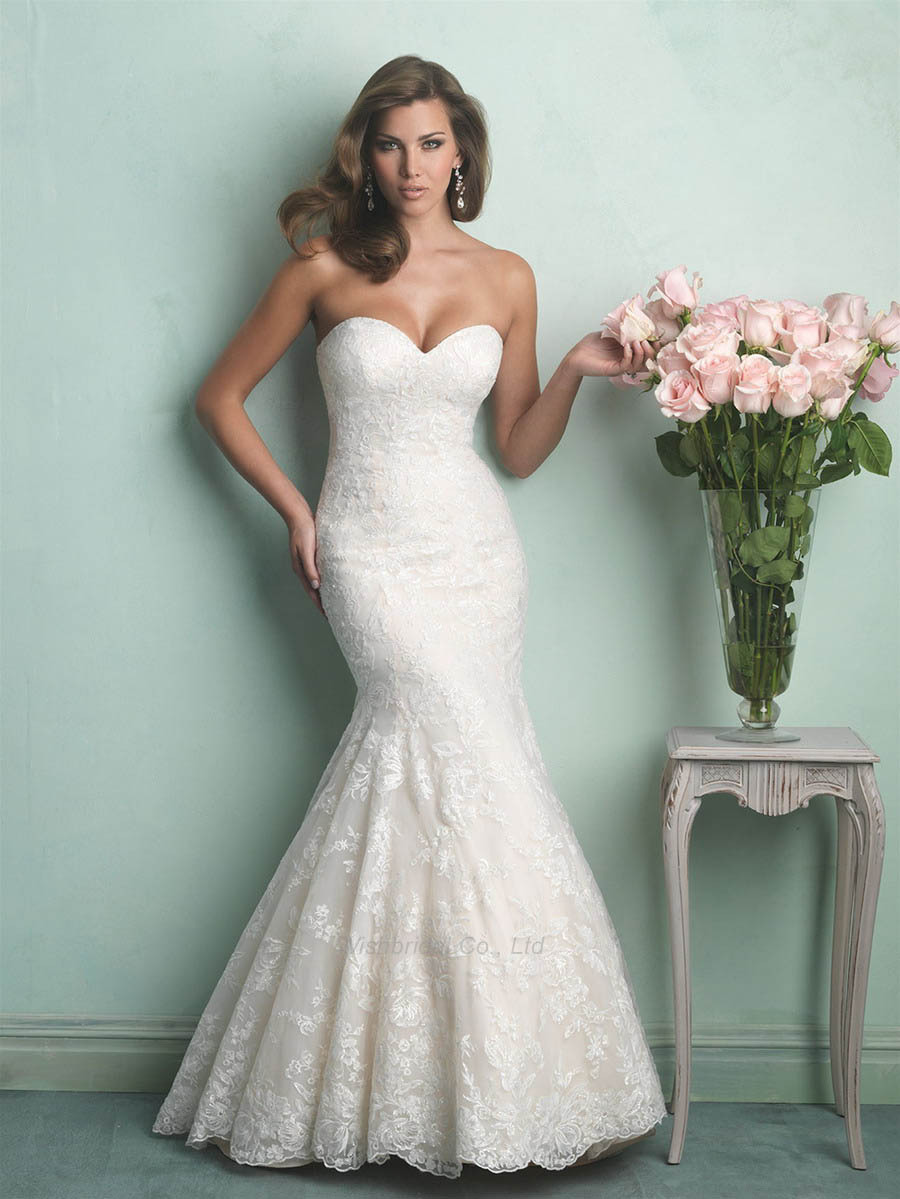 Sweetheart neckline lace mermaid wedding dress under 500 for Mermaid wedding dresses under 500