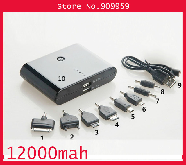 12000mAh power bank Portable Power charger external Backup Battery For Nokia , Micro USB, Samsung, Mini USB, iPod,iPhone