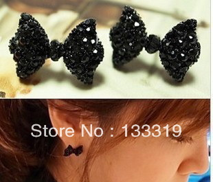 Western Fashion Simple Black Butterfly Bow Earrings Wholesale 2015 HOT free shipping(China (Mainland))