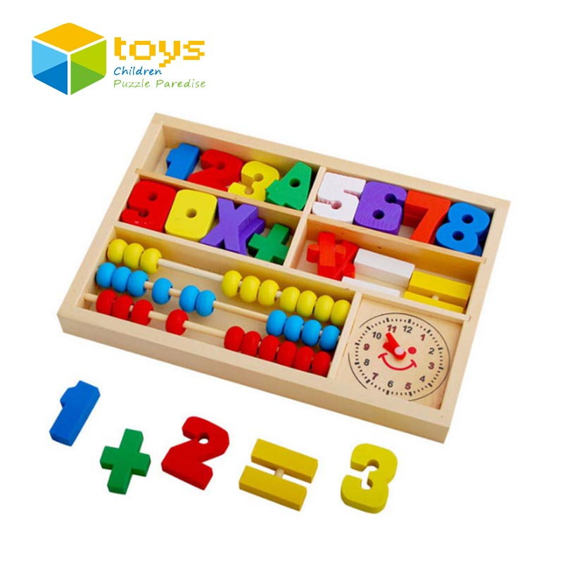 Wooden Mathematic Abacus Puzzle Early Educational Toys for ...