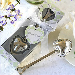 wedding favour heart tea infuser in tea time gift box bridal shower favor gifts valentine birthday presents free shipping(China (Mainland))