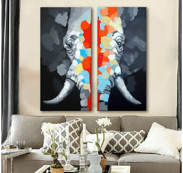 Great Hand Painted Elephant Oil Painting on Canvas Animal Large Wall Art Paints for Home Decoration 2Panels(China (Mainland))