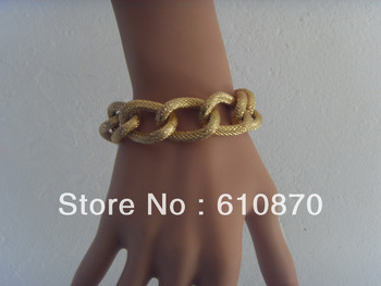 Fashion Shiny Women Men Light Gold Plated Bracelet Chunky Chic Curb Wrist  Hand Chain Jewel Free shipping