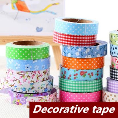15 pcs/Lot Cloth Adhesive tape masking Japanese tape Cotton Decorative scrapbooking stickers Novelty School supplies 6402(China (Mainland))