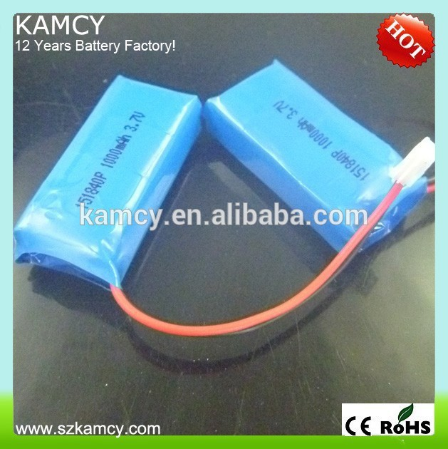 manufacturer lithium battery pack 151840 1000mAh 3.7V rechargeable(China (Mainland))