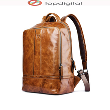 icarer Oil Wax Vintage Genuine Leather Backpack, Multi Pockets Travel Sports Business Bag, Large Capacity, for i Pad Tablet PC(China (Mainland))
