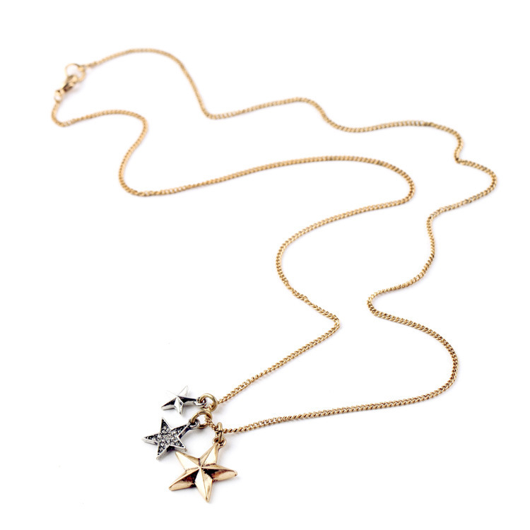 Crystal alloy stars pendant fashion necklace long gold chain - Happy& Family store
