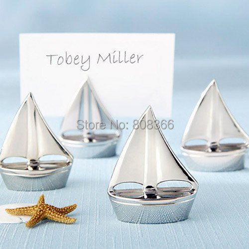 "(50 Pieces/lot) Beach Themed Wedding favor ""Shining Sails"" Silver Place Card Holders and Wedding and Party decoration gift(China (Mainland))"