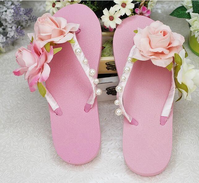Summer sandals  sweet wedges female fashion flat slippers flip flops drag  flower beach sandals women's shoes Free shipping  77