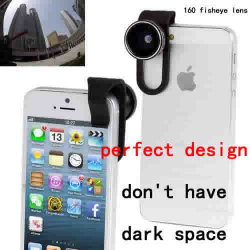 New Arrival High quality cell phone universal Clip 160 fisheye lens,dont have dark space,5pcs/lot lens<br><br>Aliexpress