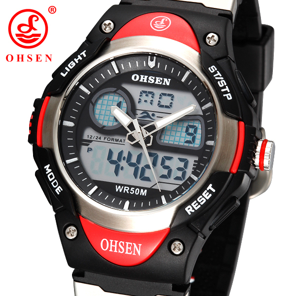 OHSEN Analog Digital LCD Dual Time Sport Watch Children Boy Waterproof Silicone Band Quartz Wristwatch Men Military Watches Gift<br><br>Aliexpress