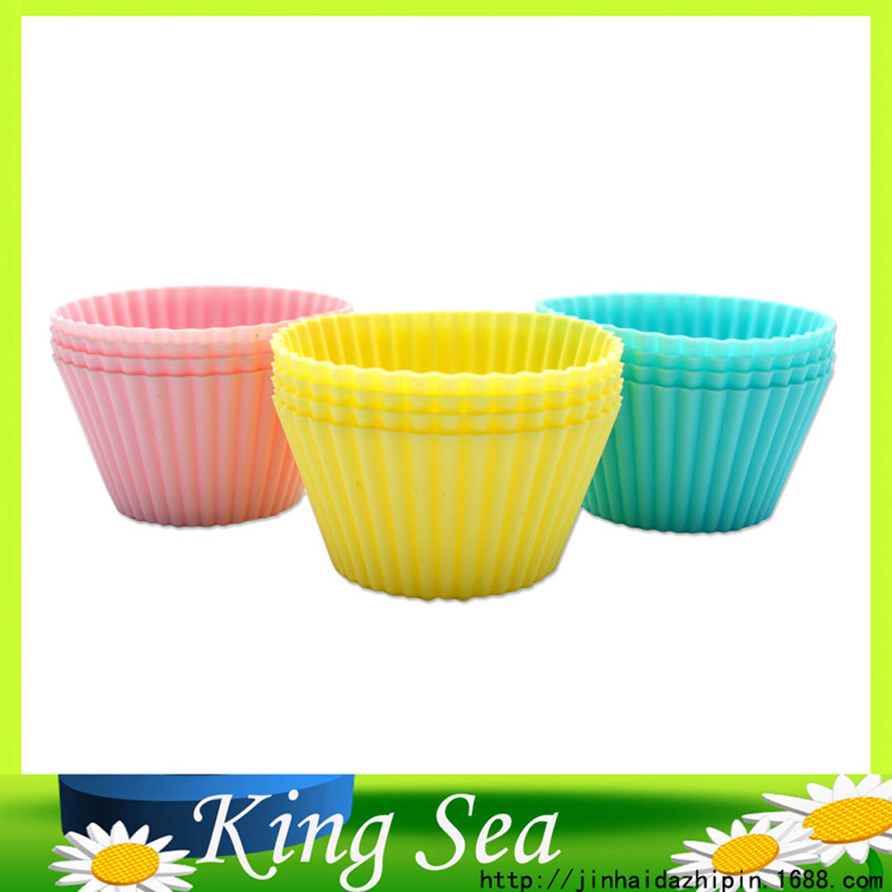 Cupcake Liners Mold 7CM 12pcs 6 Colors Muffin Round Silicone Cup Cake Tool Bakeware Baking Pastry Tools Kitchen Gadgets(China (Mainland))
