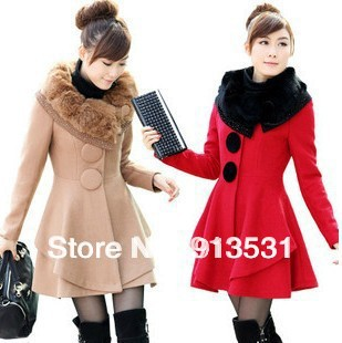 Guarantee 100% good quality Korea style fur collar fashion long wool coat - FLY INTERNATIONAL CO., LTD store