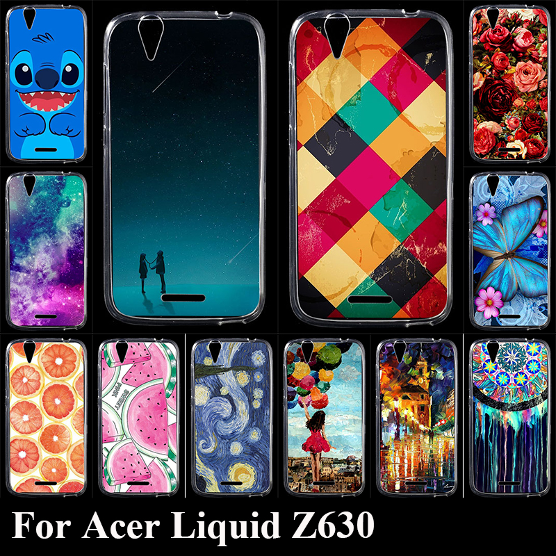 Case For Acer Liquid Z630 Colorful Printing Drawing Transparent Plastic Phone Cover Soft Silicone tpu mobile Phone Cases(China (Mainland))