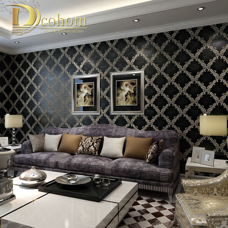 Simple luxury european style beige black damask wallpaper for 6 in the living room