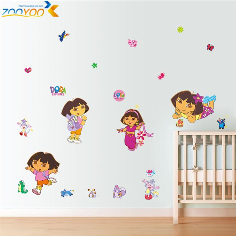 Dora sticker cartoon children's room wall stickers decorative stickers DIY Home Decor living room Removable PVC wall art Comics(China (Mainland))