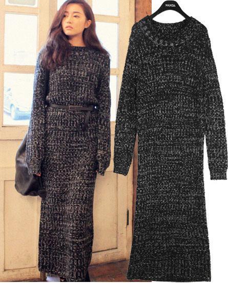 Women Vintage Maxi Long Winter Warm Dresses Ankle Length ...