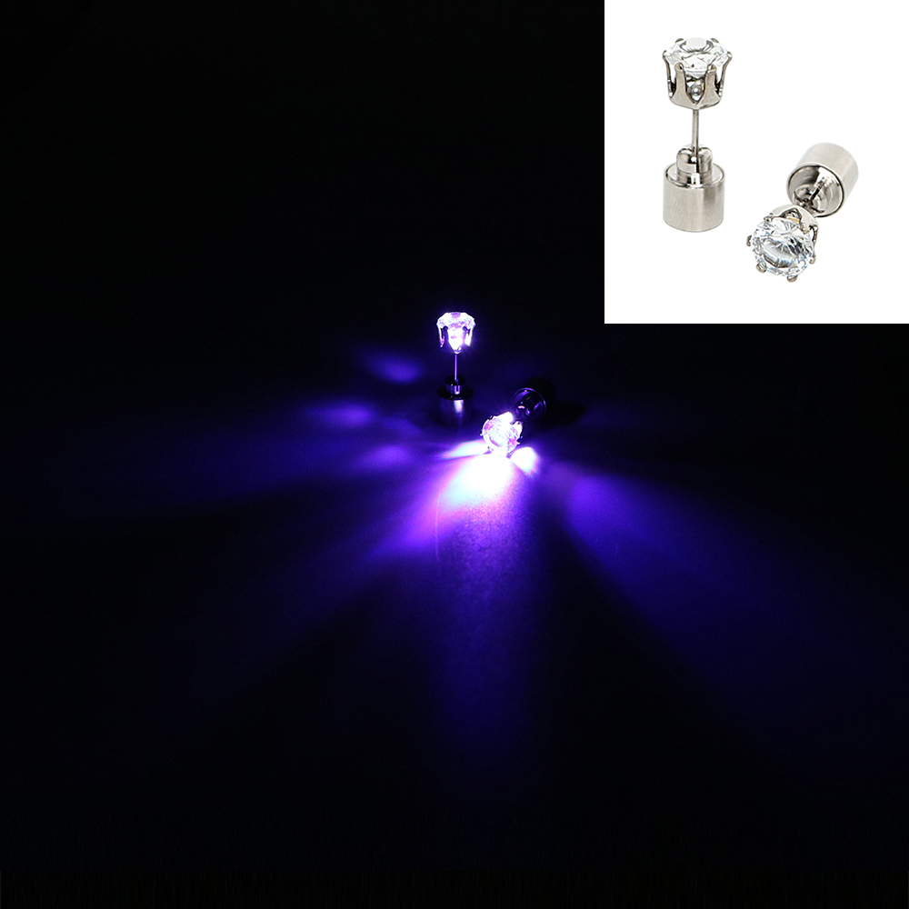 ITimo Stainless Steel 1 Pair Funny LED Earrings Light Novelty Lighting Flashing Blinking New Ear Nail Stud Lamp(China (Mainland))