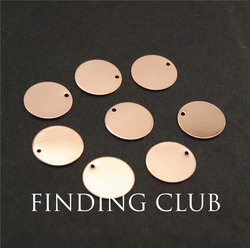 20 pcs rose gold Plated 14mm Blank Stamping Tags Pendants for Bracelets electroplating natural material without nickle RS754(China (Mainland))