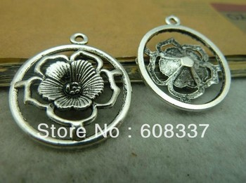 Free shipping ,10pcs 28*32mm Nickle Free  Antique Silver Flower Pendant , Jewelry Accessory