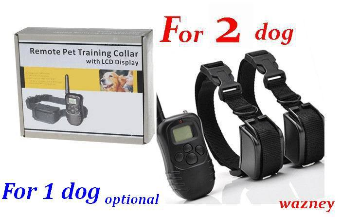 100set/lot *300m dog remote pet training collar LCD dispaly 100lv of Vibration remote Static Shock Anti Bark (for 2 dogs)(China (Mainland))