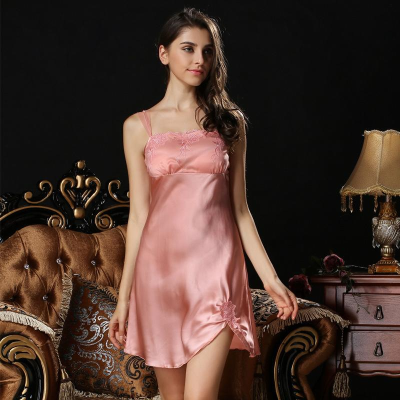 New summer Sexy temptation 100% silk vest women nightgown spaghetti strap sleepdress for women homewear free shipping(China (Mainland))