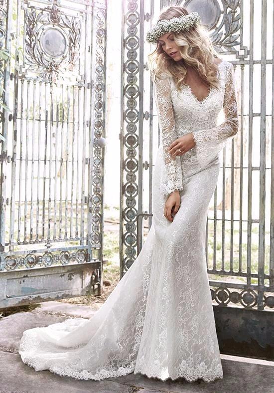2016 мода романтические кружева свадебные платья v шеи длинные рукава аппликация кружева женщины свадебные жениться платье для партии vestidos festa