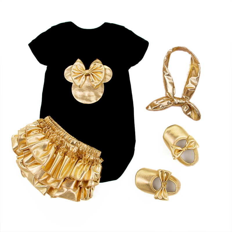2016 Baby Girl Clothing 4pcs Sets Black Cotton Rompers Golden Ruffle Bloomers Shorts Shoes Headband Infant Newborn Clothes(China (Mainland))