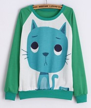 2016 New spring Hoody women Casual hoodies cat kiss fish print tracksuit long sleeve o neck letters sweatshirt for women Top(China (Mainland))
