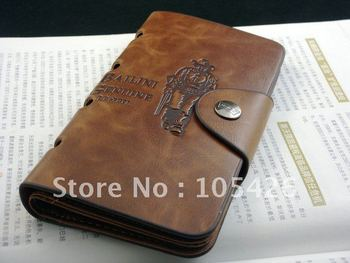 2015 new arrivel New Mens Leather Long Wallet Pockets ID Card Clutch Bifold Purse Brown Free shipping&Wholesale