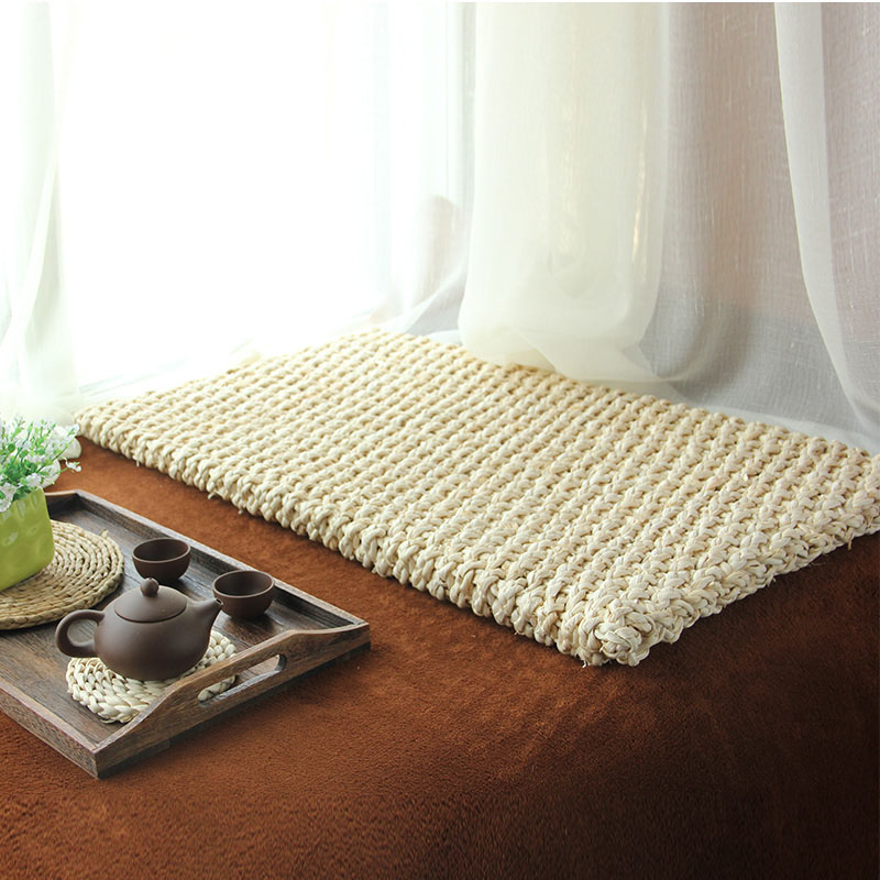 Modern rustic rectangular floor cushion beige natural straw Mat Meditation Futon tatami Cushion tea table Carpet 75cm*45cm*4cm(China (Mainland))