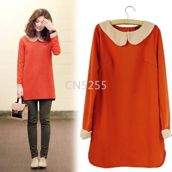 New 2014 Spring Korea Women's Sweet Slim Fit Long Sleeve Doll Collar Mini Dress Plus Sizes M-XL 22(China (Mainland))