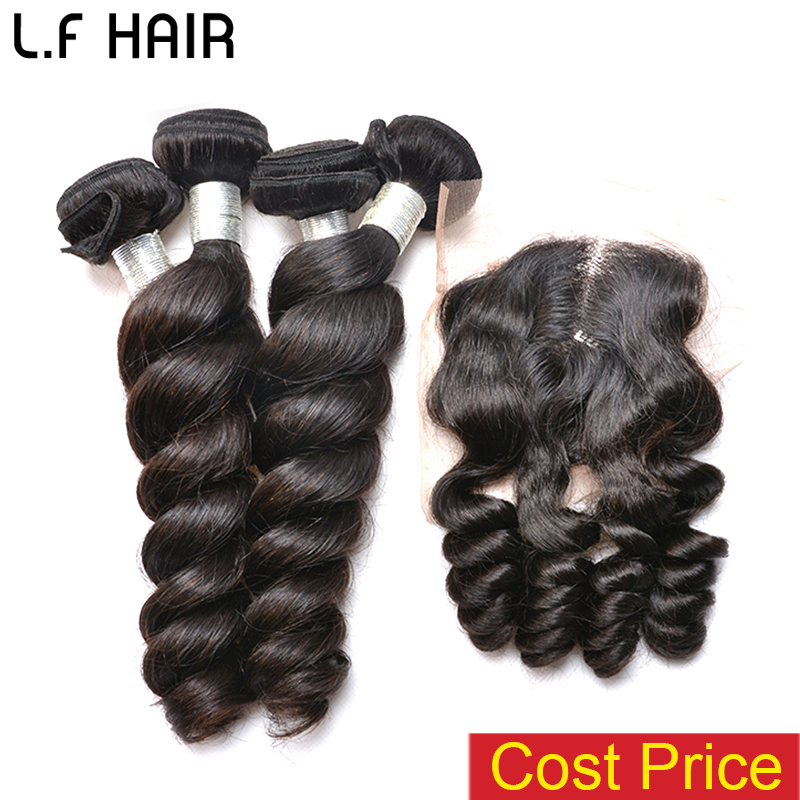 6A brazilian hair weave bundles with closure brazilian loose wave with closure unprocessed brazilian virgin hair with closure