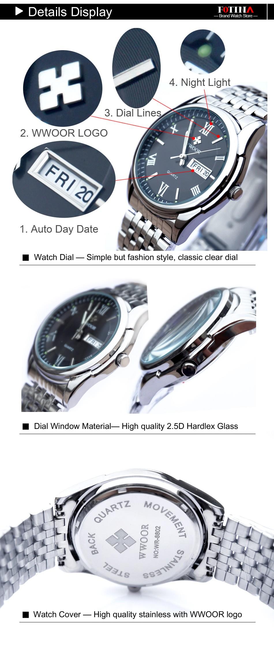 FOTINA Top Brand WWOOR Часы Мужчины День Дата Нержавеющей Стали Relojes Платье Мужчины Часы Кварцевые Спорт Световой Часы Relogios Masculino