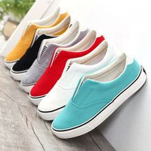 2015 candy solid color shallow mouth unisex canvas shoes women men shoes sneakers pedal lovers casual shoes slip-on size 35-44