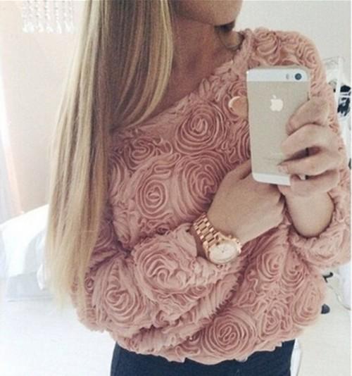 2015 New Women Blouse 3D Rose Flower Fashion Casual Women Tops Long Sleeve White/Pink/ Black Ladies Shirt Women Blusas(China (Mainland))