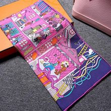 Spring NEW Printing 100% Twill Silk Scarf, Women's Square Scarves Shawl Wraps 90cm Accessory(China (Mainland))