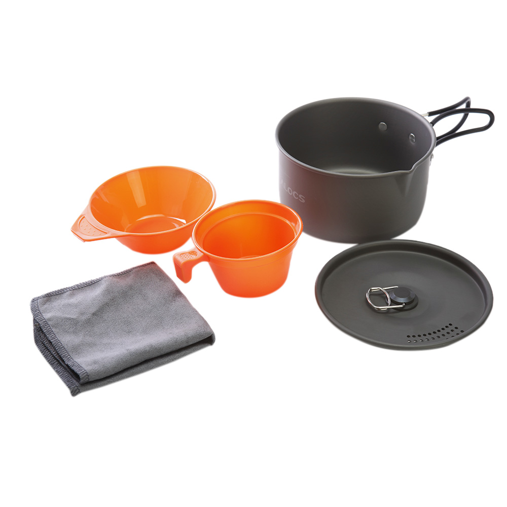 1-2 People Camping Cookware Aluminum Portable Ultralight Outdoor Camping Pot Cooking Picnic Set Cup Bowl Pot Dishcloth Kits(China (Mainland))