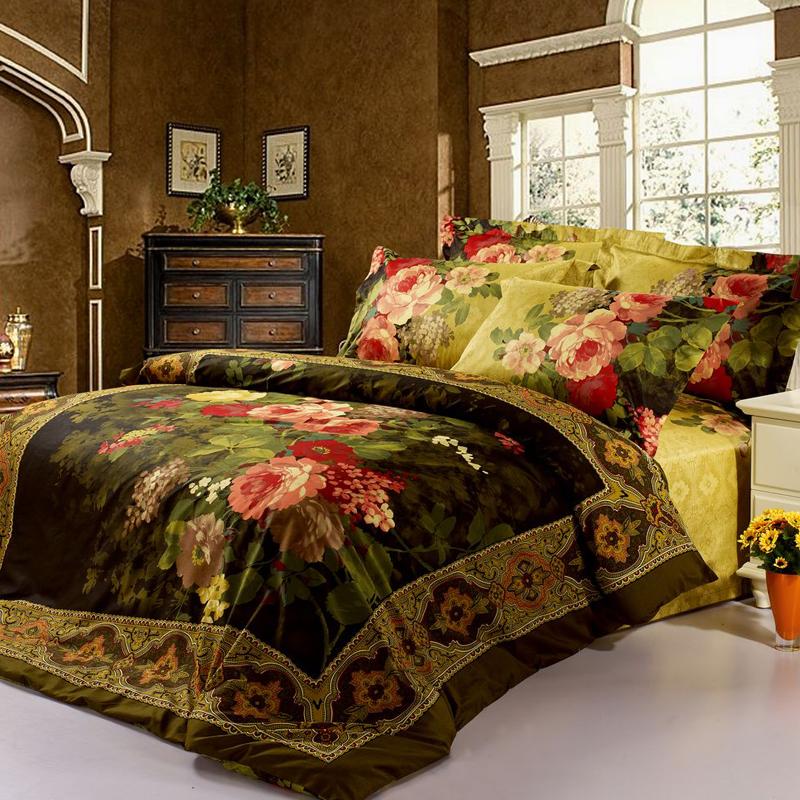 100 cotton retro european golden luxury 3d bedding set - Dark green comforter sets ...