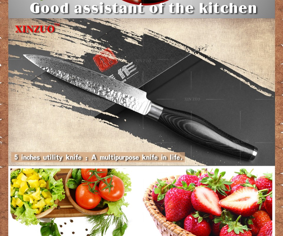 "Buy XINZUO 5""  inch utility knife high quality fruit knife 73 layers Japanese Damascus kitchen knife Color wood handle free shipping cheap"