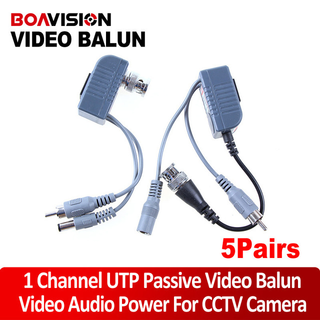 5Pairs BNC Coax CCTV active Video Balun with Audio Power Transceiver Cable