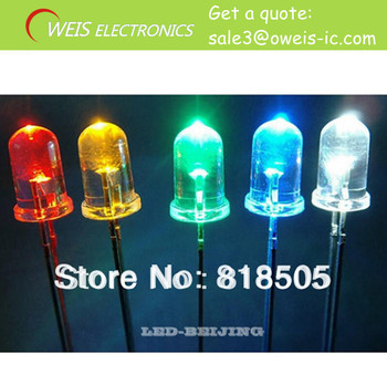 50PCS 3MM LED light emitting diode in red, green, yellow ,blue, white  10PCS * 5 colors  all 50PCS LED KIT, Free shipping