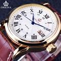 Orkina Classic Roman Series Brown Genuine Leather Strap Calendar Display Clock Mens Watch Top Brand Luxury