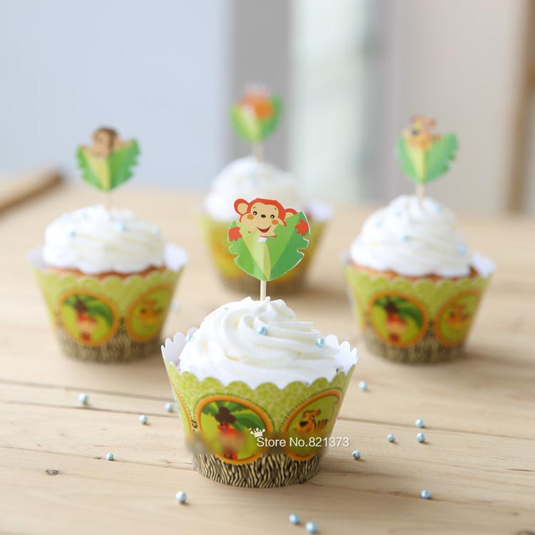 Aliexpress com   Koop dier tijger aap giraffe baby shower decoratie, cupcake wrappers kopjes