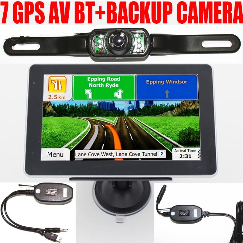 "7"" GPS navigation navigator 800MHZ MTK CE 6.0 4gb FM Bluetooth europe usa uk map AV-IN 2.4G wireless back up rearview camera(China (Mainland))"