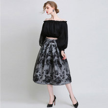 Europe 2016 fall/winter new fashion double layer organza printed high waist long puff skirt wholesale