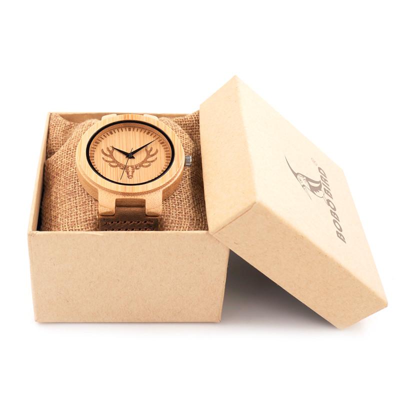 BOBO BIRD Men Wood Watch Engrave Bulk Head Watch Top Luxury Quartz-watch for Men and Women Relogio Masculino Reloj Brown Strap