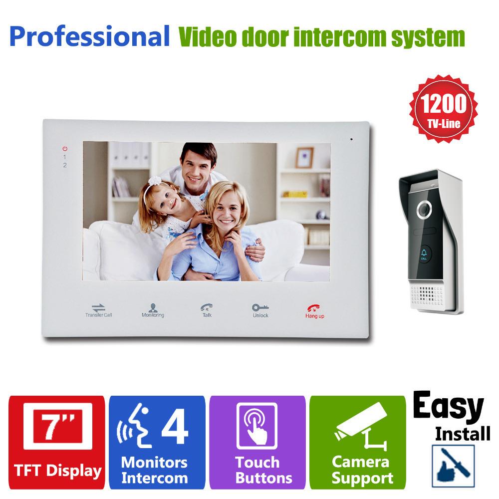 """Гаджет  YSECU 7""""TFT HD 1200TVL Video Doorbell Camera Door Phone Doorbell Intercom System IP65  Waterproof Quality Indoor Monitors None Безопасность и защита"""